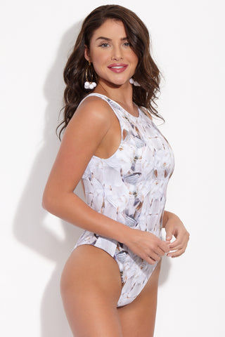 LA GOTTA Aythya Racerback One Piece Swimsuit - Ivory Feathers Print One Piece | Ivory Feathers Print| La Gotta Althea Racer Back One Piece -Ivory Feathers Print Front Side View Monokini Style High Scoop Neckline Racer Back Cheeky Coverage Hand Painted Design Double Lined