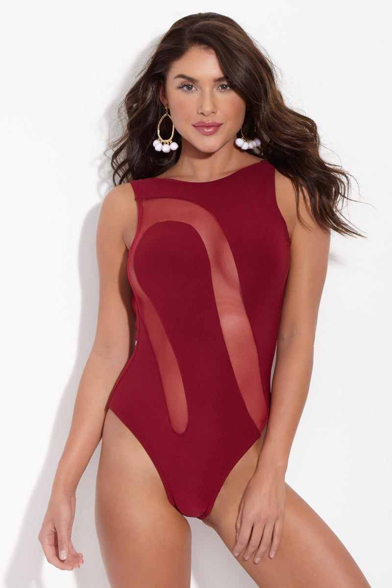 LA GOTTA Cairina Mesh Cut-Out High-Neck One Piece Swimsuit - Scarlet Red One Piece | Scarlet Red| La Gotta Carina Cut Out One Piece - Scarlet Red Front View Cut out One Piece Asymmetric Mesh Inserts High Scoop Neckline Low Scoop Back Cheeky Coverage