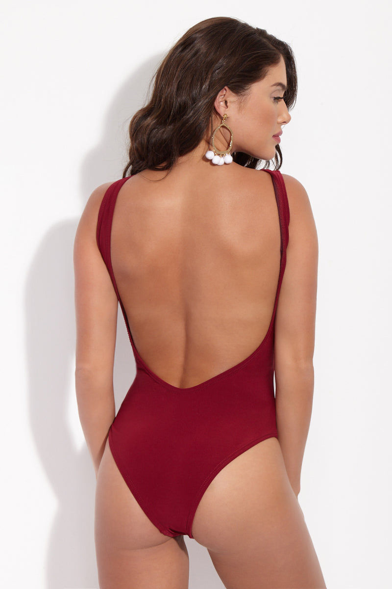 LA GOTTA Cairina Mesh Cut-Out High-Neck One Piece Swimsuit - Scarlet Red One Piece | Scarlet Red| La Gotta Carina Cut Out One Piece - Scarlet Red Back View Cut out One Piece Asymmetric Mesh Inserts High Scoop Neckline Low Scoop Back Cheeky Coverage