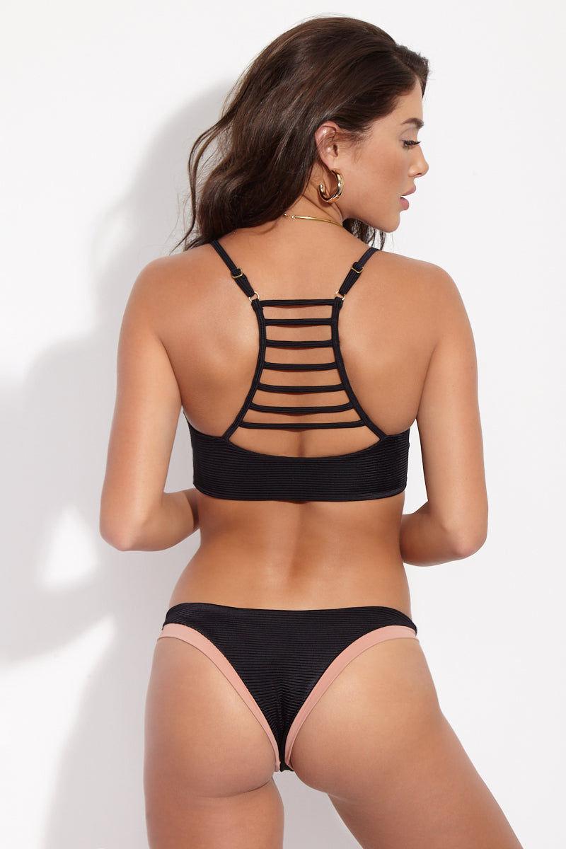 ISSA DE' MAR Coco Skimpy Bikini Bottom - Black Ribbed Bikini Bottom | Black Ribbed| Issa De Mar Coco Bikini Bottom Honey nude and classic black ribbed hipster style bikini bottom. Cheeky coverage. Low rise cut.