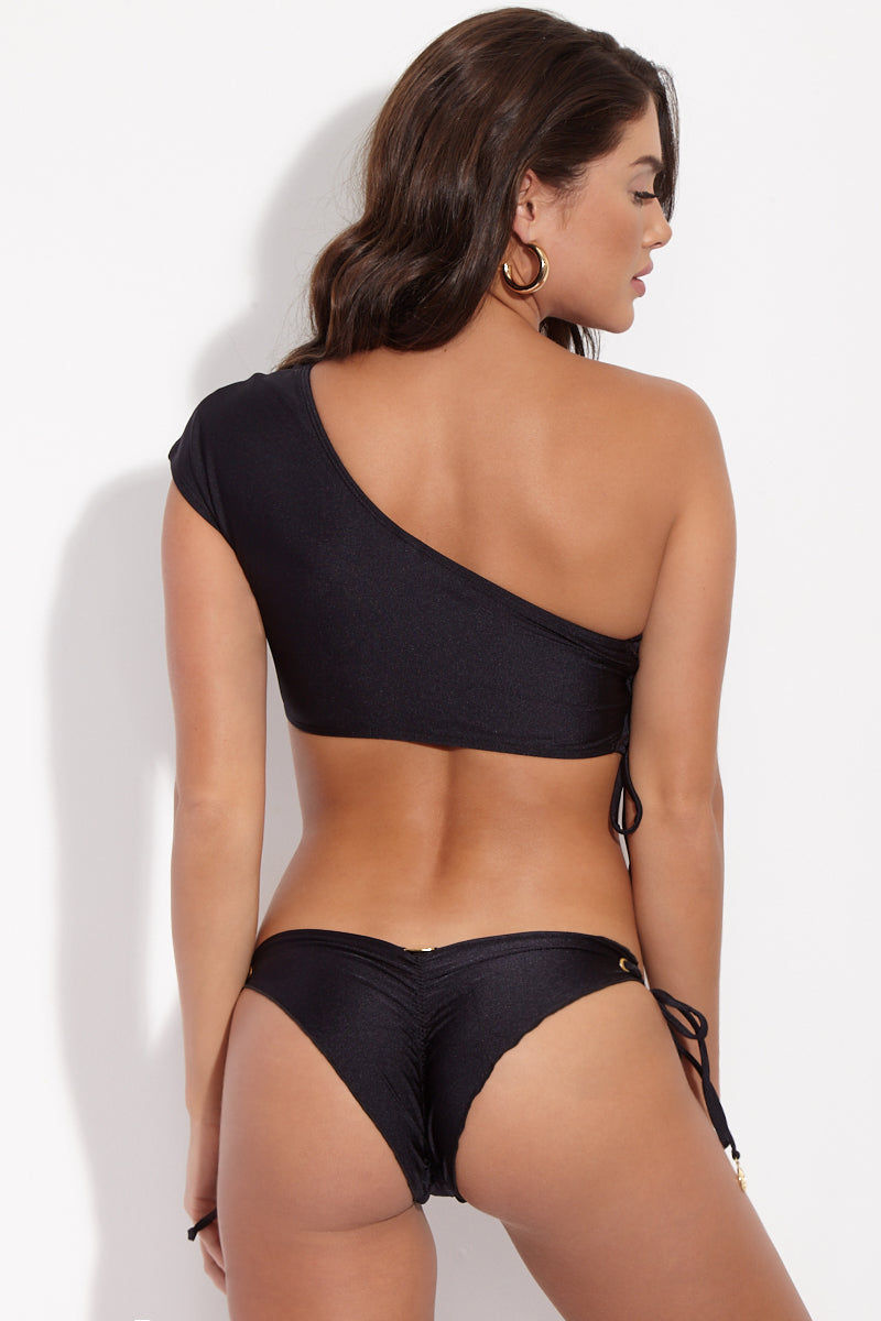 LULI FAMA Seamless Black Tie Side Brazilian Bottom Bikini Bottom | Black| Luli Fama Seamless Tie Side Brazilian Bottom