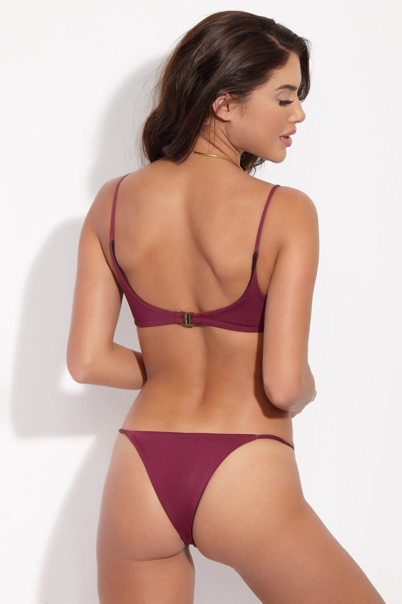 SKYE & STAGHORN Bordeaux V Wire Top Bikini Top | Bordeaux| Skye & Staghorn Bordeaux V Wire Top Deep burgundy bikini top with a curved v-wire neckline and thin shoulder straps.
