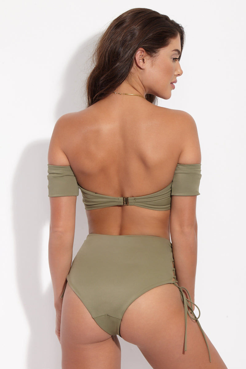 SKYE & STAGHORN Off the Shoulder Wrap Top - Moss Green Bikini Top | Moss Green|Skye & Staghorn Off the Shoulder Wrap Top Green Moss - Back View Bandeau style bikini top in moss green with off the shoulder sleeves and a v-shaped wire detail at the front.