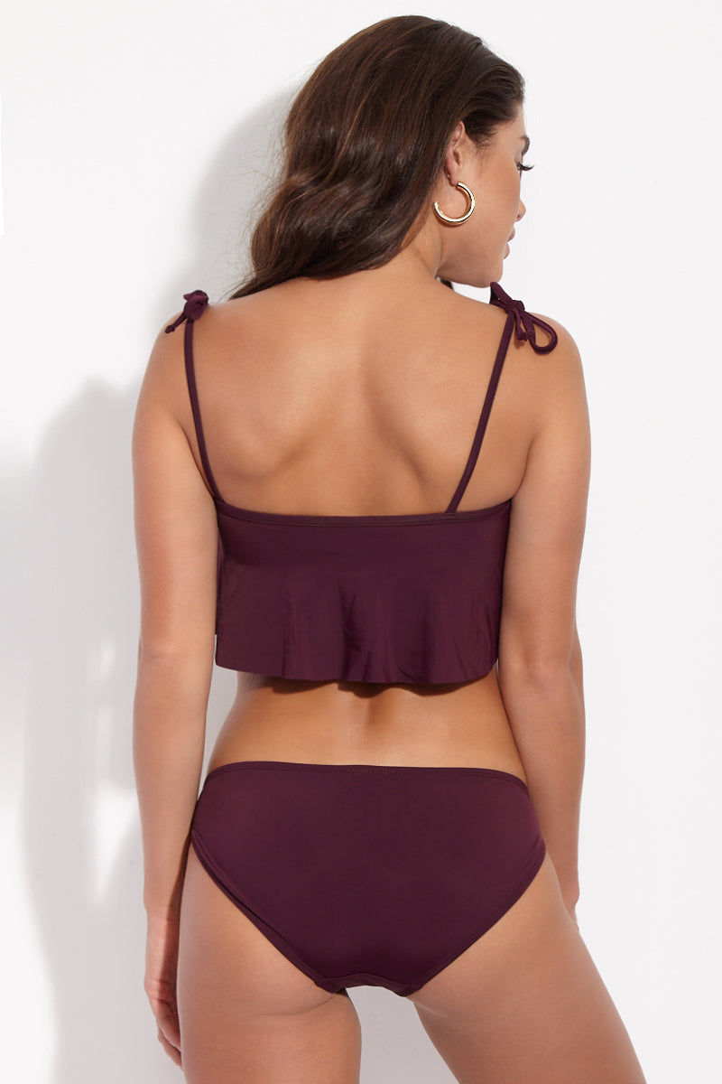 BETH RICHARDS Naomi Low Rise Full Bikini Bottom - Port Purple Bikini Bottom | Port Purple| Naomi Low Rise Full Bikini Bottom - Port Purple Features. Low rise bottom. Moderate to full coverage. Lined. High quality italian stretch fabric. Back View