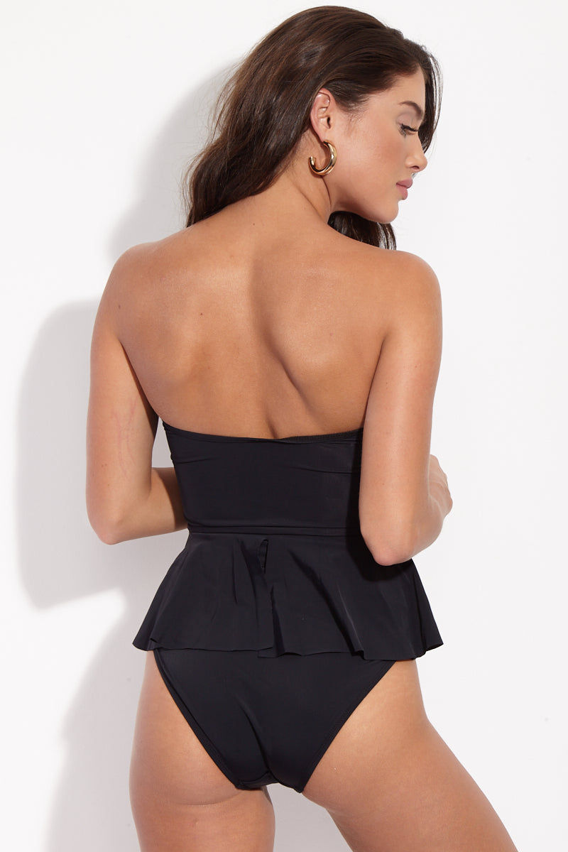 BETH RICHARDS Daphne Ruffle Bandeau One Piece Swimsuit - Black One Piece | Black| Beth Richards Daphne Ruffle Bandeau One Piece Swimsuit - Black. BACK View.Bandeau One Piece  V-Wire Front  Flowy Ruffle Detail  High Cut Leg  Moderate Coverage  High Quality Italian Stretch Fabric  UPF 50+ Protection  80% Polyamide, 20% Elastane  Made in Canada