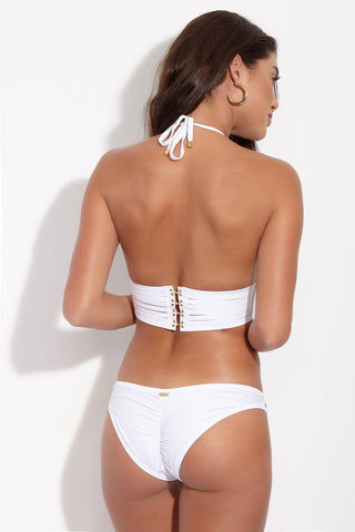 BEACH BUNNY Hard Summer Cheeky Cut Out Bikini Bottom - White Bikini Bottom | White| Beach Bunny Hard Summer Cheeky Cut Out Bikini Bottom - White. Back View. Low rise white bikini bottom with sexy cut-out binding at front. Edgy strappy detail is fully lined with nude fabric so the see-through effect is just an illusion. Ruched scrunch back panel accentuates and flatters your booty while providing moderate rear coverage.