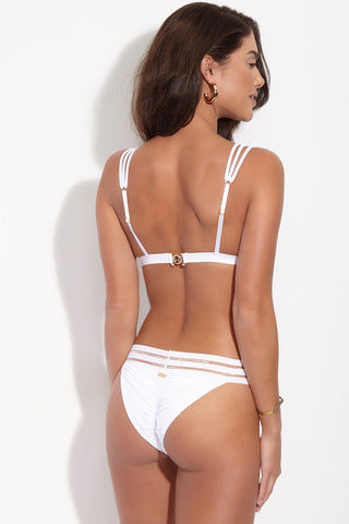 BEACH BUNNY Sheer Addiction Triangle Bikini Top - White Bikini Top | White| Beach Bunny Sheer Addiction Triangle Bikini Top - White White fixed triangle bikini top with double-striped sheer trim. See-through elastic stripes give a sexy cut-out effect while still keeping you fully covered. Triple-strand adjustable shoulder straps add a final edgy touch. Back View