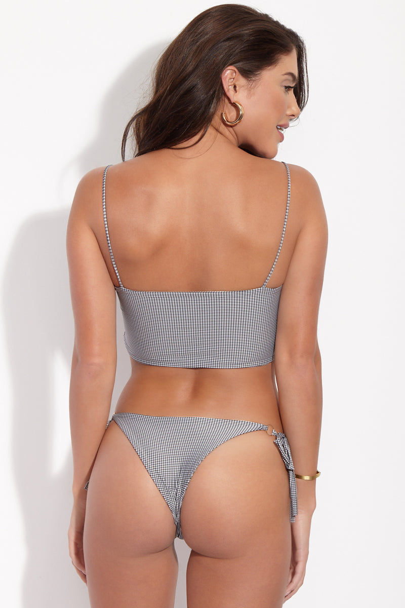 KAOHS Marla Side Tie Bikini Bottom - Gingham Bikini Bottom | Gingham| KAOHS Marla Bottom Back View Skimpy Bikini Bottom Black and White Gingham Print Side Ties O-Ring Detail Cheeky Coverage