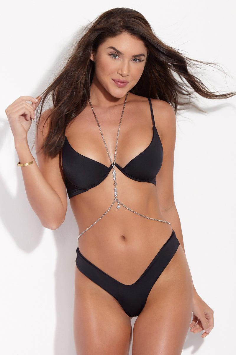 KAOHS Bella Thong Bikini Bottom - Black Bikini Bottom | Black| KAOHS Bella Bottom - Black Front View All Black Skimpy Bikini Bottom High Cut Leg Wide Waistband Cheeky Brazilian Coverage
