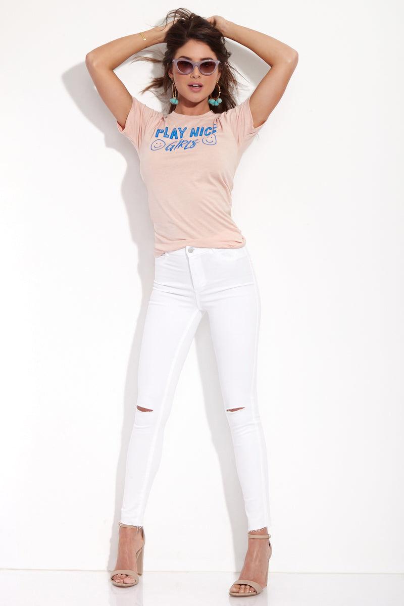 TOP KNOT GOODS Play Nice Girls Tee Top | Peach| Top Knot Goods Play Nice Girls Tee