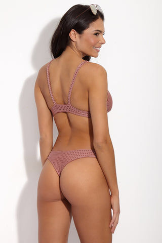 ACACIA Mesh Ho'okipa Bottom - Lipstick Pink Bikini Bottom | Lip Stick Mesh| Acacia Ho'okipa Bottom And Top On Model Rear View