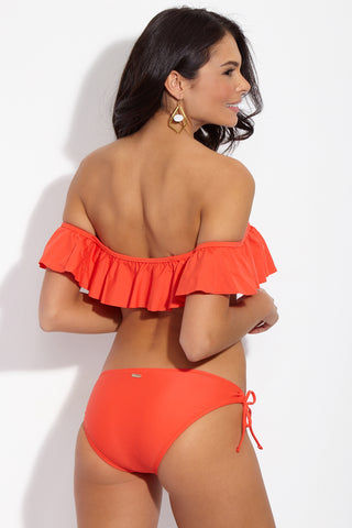 713fceb78a ... RAISINS Mermaid Flounce Ruffled Bandeau Bikini Top - Luminous Red  Bikini Top
