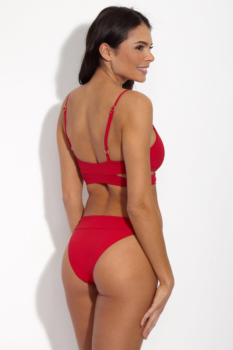 L SPACE Rocky Top - Lipstick Red Bikini Top | Lipstick Red| L Space Rocky Top Fixed wrap style bikini top. Classic lipstick red fabric. Adjustable thin spaghetti shoulder straps. Smooth back. Pullover design.