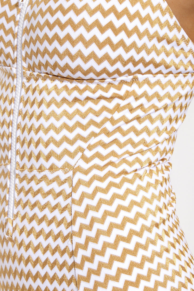 LONELY Jamie Zippered Square Neck One Piece Swimsuit - Gold Zigzag One Piece | Gold Zigzag| Lonely Jamie One Piece