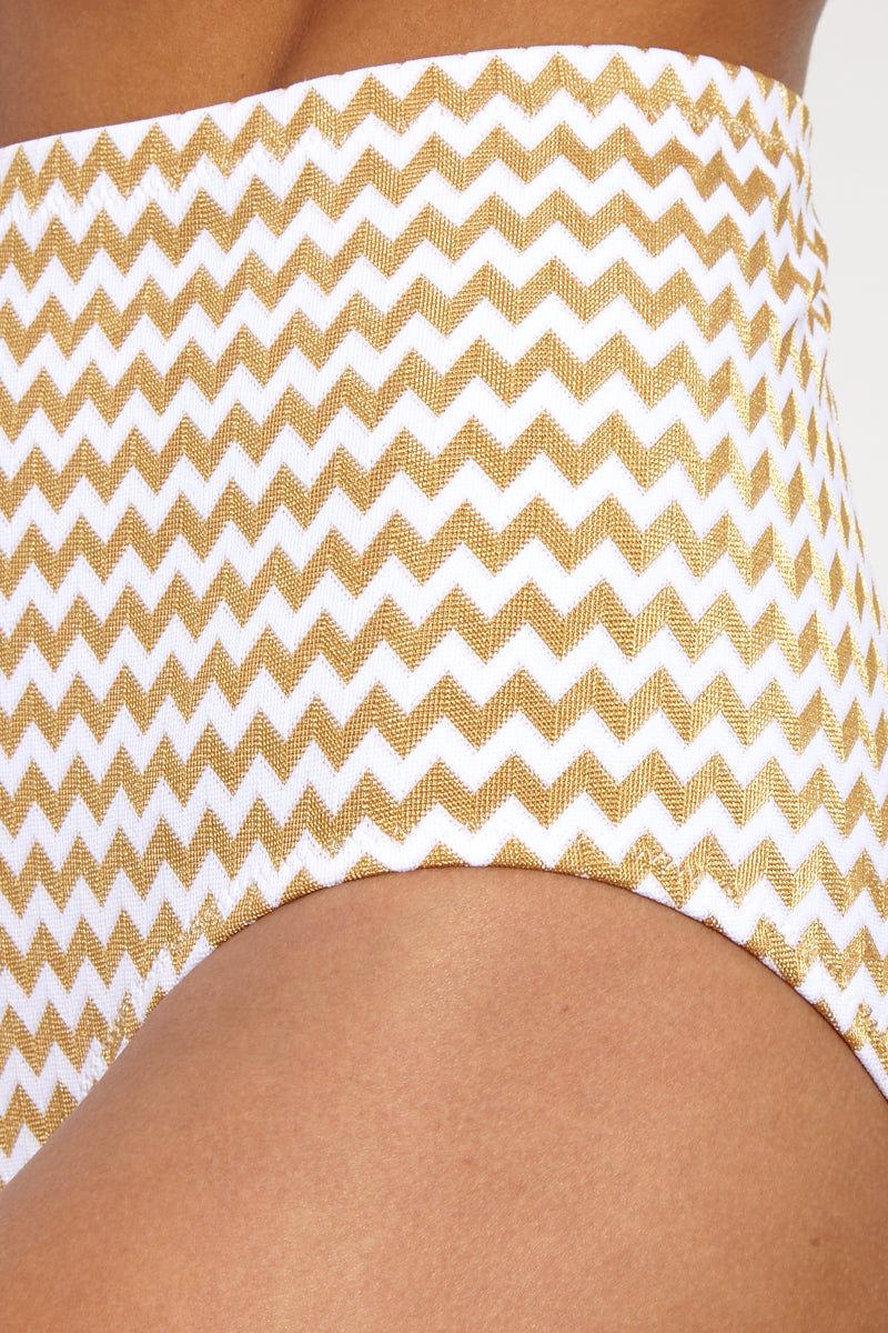 LONELY Doris High-Waisted Bikini Bottom - Gold Zigzag Bikini Bottom | Gold Zigzag| Lonely Doris Bottom