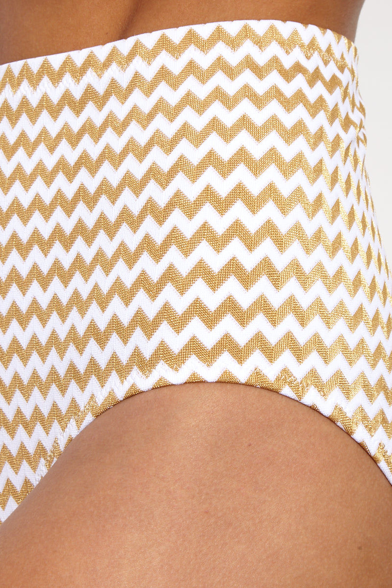 LONELY Doris High-Waisted Bikini Bottom - Gold & White Gingham Print Bikini Bottom | Gold & White Gingham Print| LONELY Doris High-Waisted Bikini Bottom - Gold & White Gingham Print high-waisted bikini bottom in abstract gingham-like zig-zag print. Vintage shapewear-inspired center seam at rear subtly sculpts and accentuates your booty. Classic cut leg with full rear coverage Front View