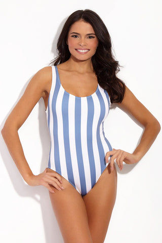 SOLID & STRIPED The Anne-Marie Classic One Piece Swimsuit - Ice Stripe One Piece | Ice Stripe| Solid & Striped The Anne-Marie One Piece Powder blue and white vertical stripe one piece swimsuit. Low scoop neckline and low back scoop. Mid hip cut design.