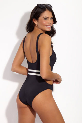 SOLID & STRIPED The Joan Cut-Out Belted One Piece Swimsuit - Black One Piece | Black| Solid & Striped The Joan One Piece Classic black monokini one piece with a striped belt and side cut outs.