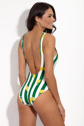 SOLID & STRIPED The Anne-Marie Classic One Piece Swimsuit - Lemons & Green Stripe Print One Piece | Lemons & Green Stripe Print| Solid & Striped The Anne-Marie Classic One Piece Swimsuit - Lemons & Green Stripe Print Green and white vertical stripe one piece swimsuit with lemon motifs. Low scoop neckline and sexy low scoop back. High cut design. Back View