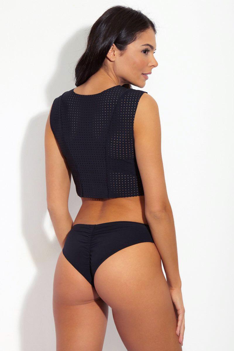BOYS + ARROWS Kiki Cheeky Ruched Bikini Bottom - Black Bikini Bottom | Black| Boys + Arrows Kiki Cheeky Ruched Bikini Bottom - Black Low-rise cheeky bikini bottom in classic black color. Seamless sides Back View