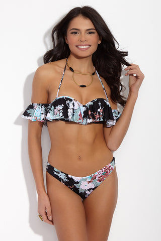 RADIO FIJI Dharma Ruffled Off The Shoulder Bikini Top - Flora's Print Bikini Top | Flora's Print| Radio Fiji Dharma Ruffled Off The Shoulder Bikini Top - Flora's Print. Front View. Off The shoulder Bikini Top. Ruffled Detail Flounce. Molded push up cups. underwire. Removable and adjustable optional straps. Clip back closure