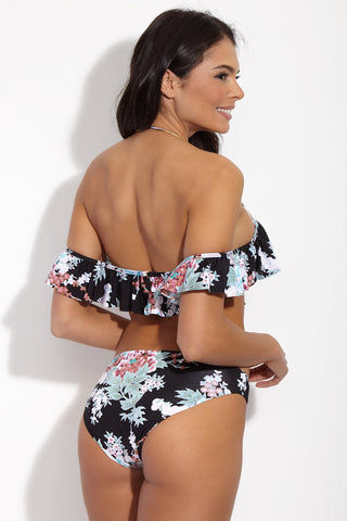 RADIO FIJI Dharma Ruffled Off The Shoulder Bikini Top - Flora's Print Bikini Top | Flora's Print| Radio Fiji Dharma Ruffled Off The Shoulder Bikini Top - Flora's Print. BAck View. Off The shoulder Bikini Top. Ruffled Detail Flounce. Molded push up cups. underwire. Removable and adjustable optional straps. Clip back closure