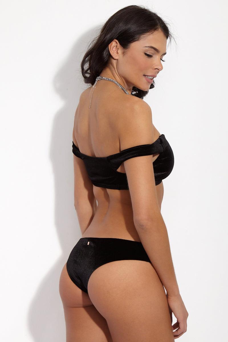 RADIO FIJI Thalia Velvet Cheeky Bikini Bottom - Obsidian Bikini Bottom | Obsidian| Radio Fiji Velvet Thalia Bottom Obsidian. Back Side View. Hipster bottom. Cheeky coverage. Velvet material
