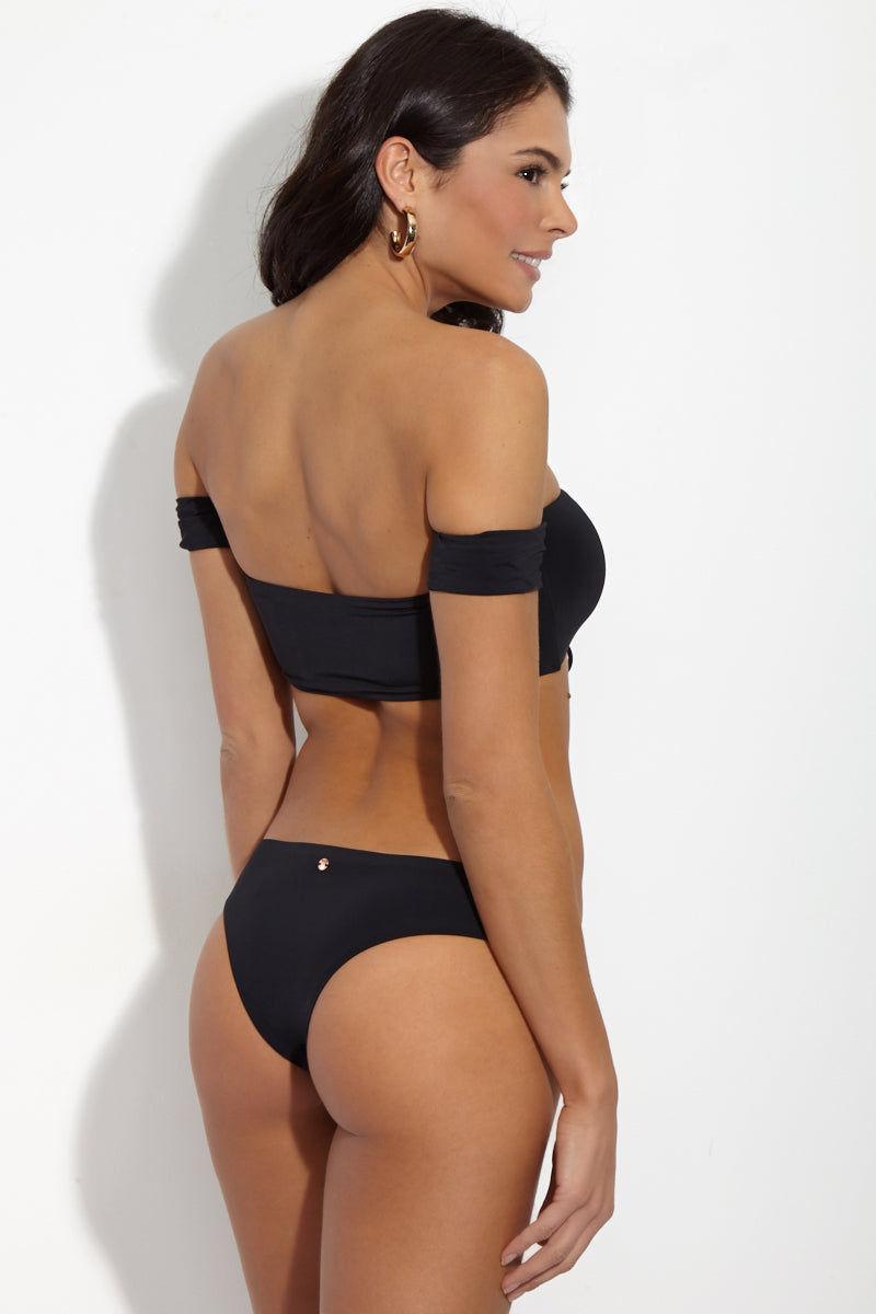 RADIO FIJI Adilette Off The Shoulder Bandeau Bikini Top - Obsidian Bikini Top   Obsidian  Radio Fiji Black Adilette Top