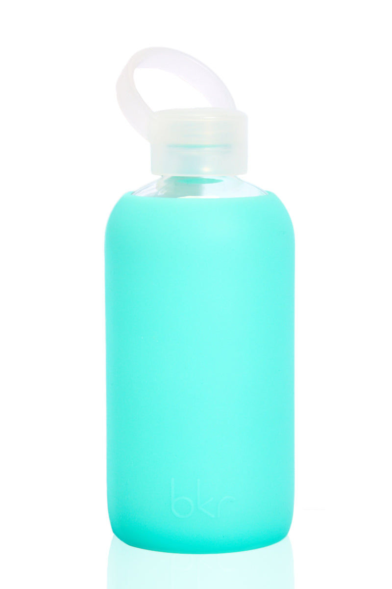 BKR Holiday Bottle -500ml Accessories | Teal| BKR Holiday Bottle -500ml Standard Size 500mL Reusable Glass Water Bottle Solid Neon Teal Silicone Sleeve Small Opening No-Leak Cap 100% Recycable BPA-Free Glass Dishwasher Safe Store With Cap Off Do Not Freeze or Microwave