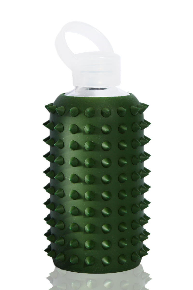 BKR Spiked Cash Bottle -500ml Accessories | Forest Green| BKR Spiked Cash Bottle -500ml Standard Size 500mL Reusable Glass Water Bottle Solid Forest Green Spiked Silicone Sleeve Small Opening No-Leak Cap 100% Recycable BPA-Free Glass Dishwasher Safe Store With Cap Off Do Not Freeze or Microwave