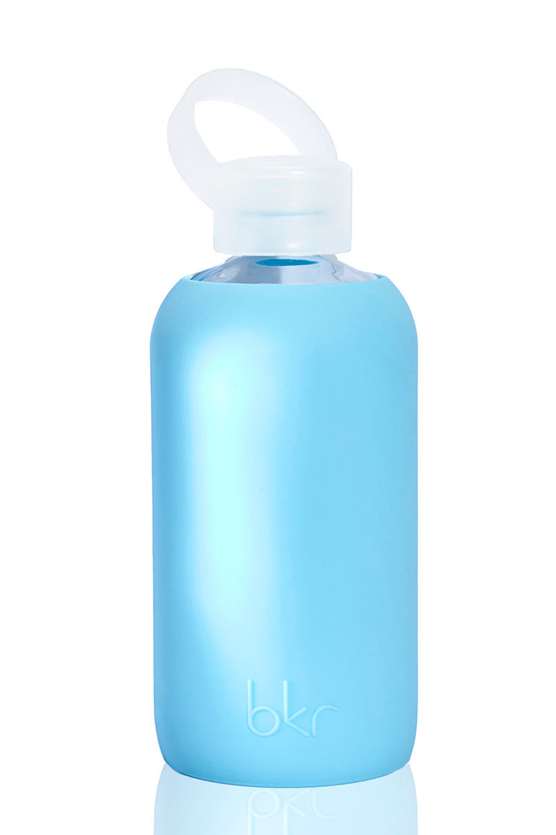 BKR Bride Bottle -500ml Accessories | Baby Blue| BKR Bride Bottle -500ml Standard Size 500mL Reusable Glass Water Bottle Solid Robin's Egg Blue Silicone Sleeve Small Opening No-Leak Cap 100% Recycable BPA-Free Glass Dishwasher Safe Store With Cap Off Do Not Freeze or Microwave