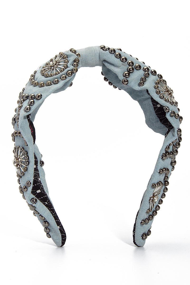 NAMJOSH Metal Beads Denim Hardband Hair Accessories   Denim Studs 