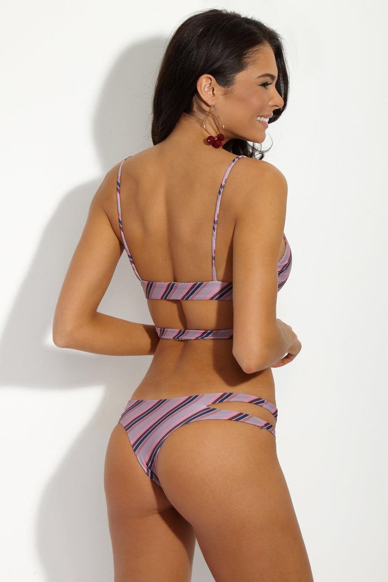ACACIA Haku Top - That 70's Striped Pink/Purple Bikini Top | That 70's| Acacia Acacia Haku Top And Bottom On Model Angled Rear View