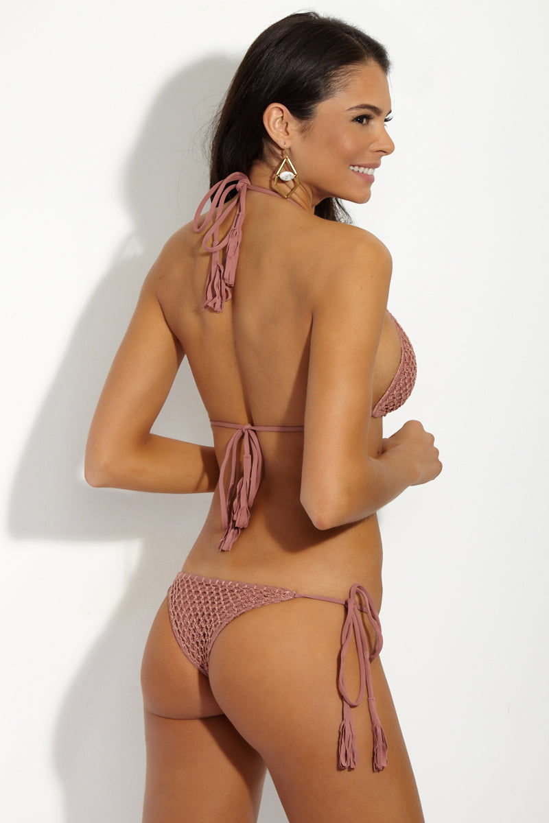 ACACIA Polihale Crochet Tie Side Bikini Bottom - Lipstick Pink Bikini Bottom | Lip Stick Pink| Acacia Crochet Polihale Tie Side Bikini Bottom - Lip Stick Pink low-rise side tie crochet cheeky  Back View