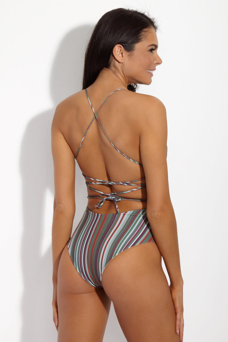 SIE SWIM Bella Lace Up Back One Piece - Stripe Print One Piece | Stripe Print| SIE SWIM Bella Striped One Piece