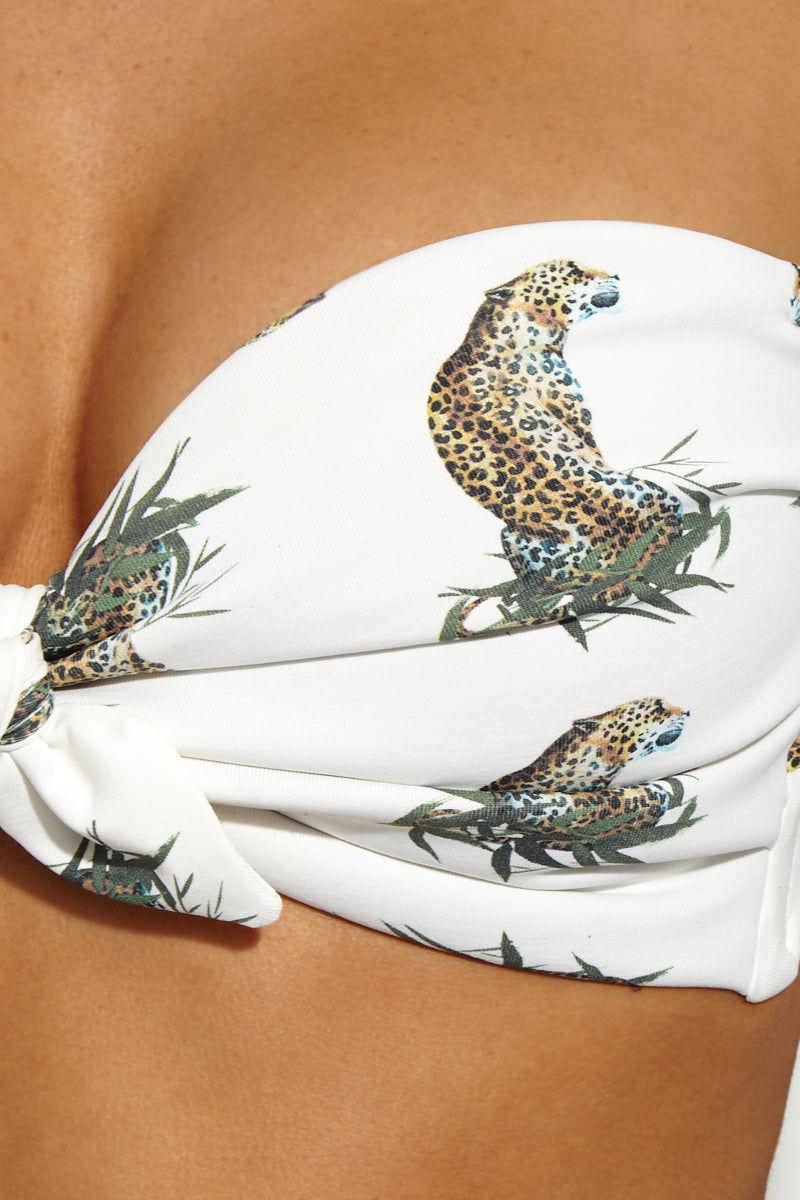 MONTCE SWIM Ruffle Cap Sleeve Cabana Top - Cream Cheetah Print Bikini Top   Cheetah Repeat Montce Swim Montce Swim Ruffle Cap Sleeve Cabana Top