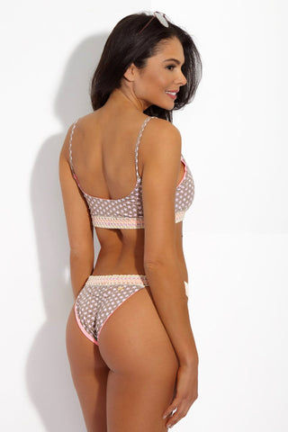 CAPITTANA Stella Reversible Bottom Bikini Bottom | Stella Print/ Neon Pink| Capittana Stella Reversible Bottom back view Blushing beige star print and bright pink reversible bikini bottom with crochet waistband.