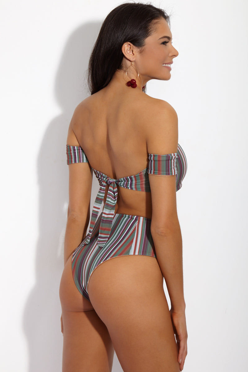 SIE SWIM Moss Cheeky High-Waisted Bikini Bottom - Stripe Print Bikini Bottom | Stripe Print| SIE SWIM Stripe Moss Cheeky High-Waisted Bikini Bottom - Stripe Print. Back View. Cheeky high-waisted bikini bottom in cool-toned stripe print. High-cut leg elongates your frame while the retro-style high waist sculpts an hourglass figure. Seamless fully lined fabric smoothes and supports your body without digging into your skin.