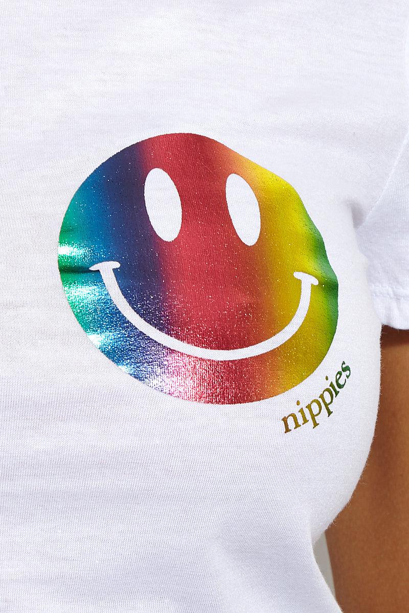 BRISTOLS SIX Happy Crop Top Top   Rainbow Smiley  Bristols Six Happy Crop Top