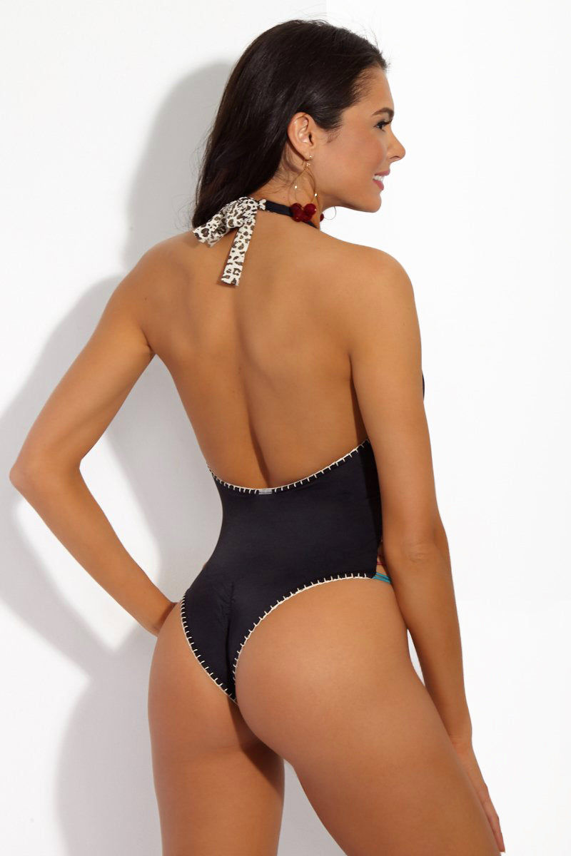 CAPITTANA Kim Reversible One Piece One Piece | Kim Print/ Black| Capittana Kim Reversible One Piece back view black side Multicolor strappy high neck skimpy reversible one piece swimsuit.