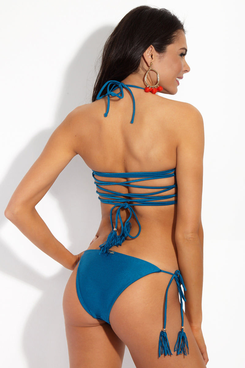 YSHEY Rachel Neptuno Top Bikini Top | Deep Blue| YSHEY Rachel Neptuno Top - back view Metallic Teal lattice-back strapless bandeau bikini top with removable halter neck ties