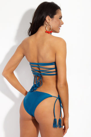 YSHEY Rachel Neptuno Top Bikini Top | Deep Blue| YSHEY Rachel Neptuno Top - back view Metallic Teal lattice-back strapless bandeau bikini top.