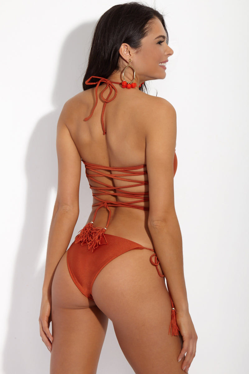 YSHEY Rachel Duchesse Bottom Bikini Bottom | Rusty Orange| YSHEY Rachel Duchesse Bottom - Back view Classic tassel tie side bikini bottom in eye-catching metallic orange fabric.