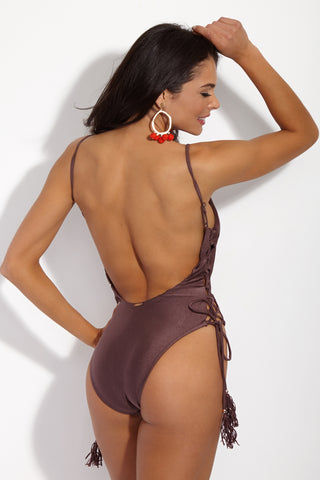YSHEY Yvonne One Piece One Piece | Dark Chocolate| YSHEY Yvonne One Piece - back view Scoop neck one piece swimsuit with deep scoop back and lace-up sides with tassels.