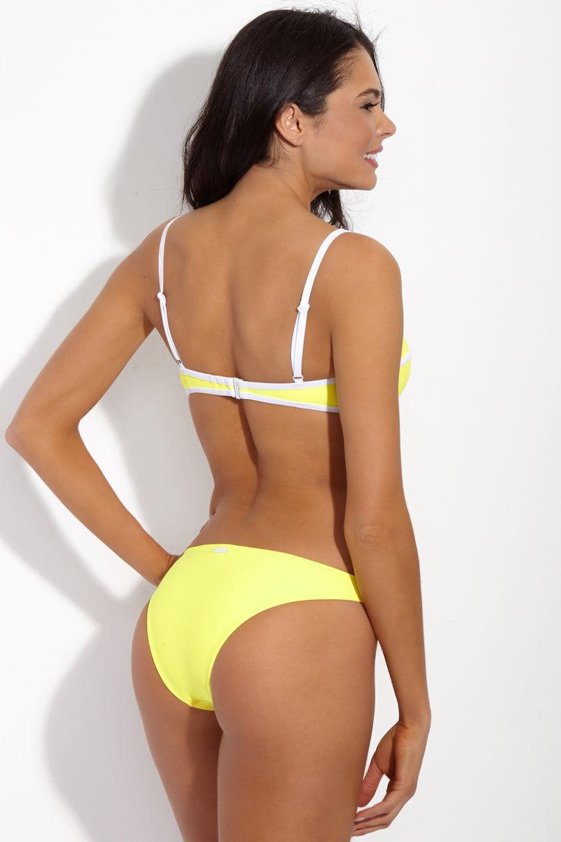 YSHEY Brigitte Jennifer Top Bikini Top | Lemon| YSHEY Brigitte Jennifer Top - back view Lemon yellow balconette bikini top with contrasting white trim detail.