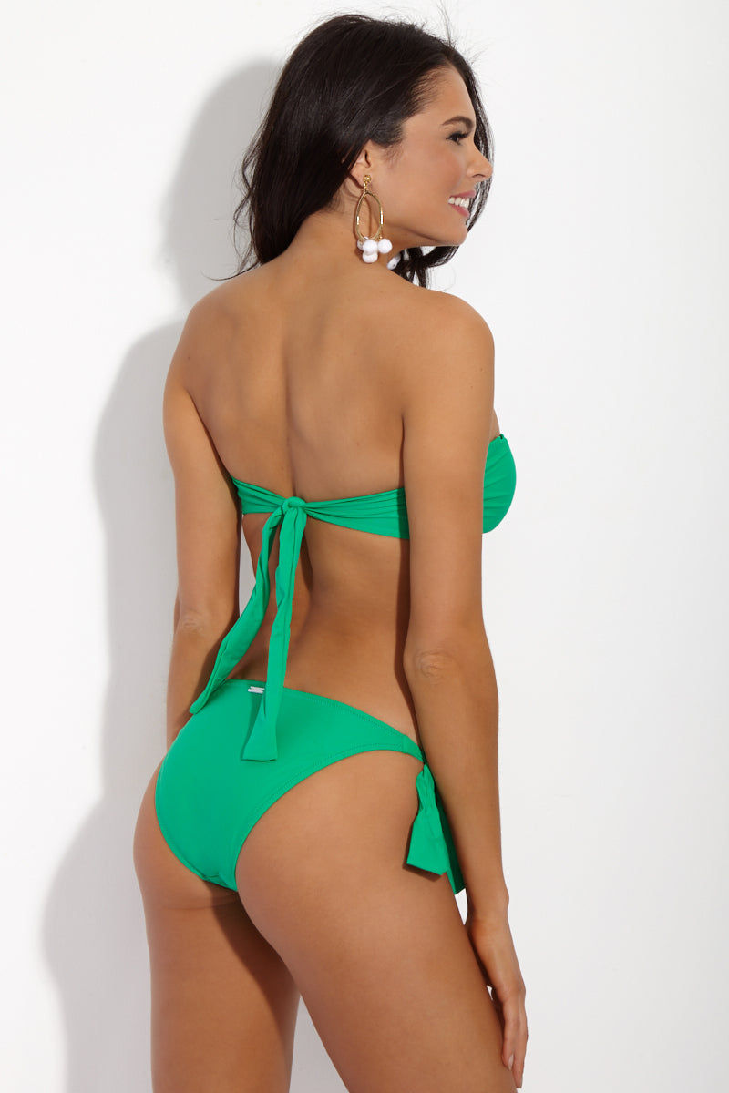 YSHEY Alice Spicy Mint Top Bikini Top | Mint Green| YSHEY Alice Spicy Mint Top - back view bold emerald green bandeau bikini top with elegant twisted front detail, thick back ties