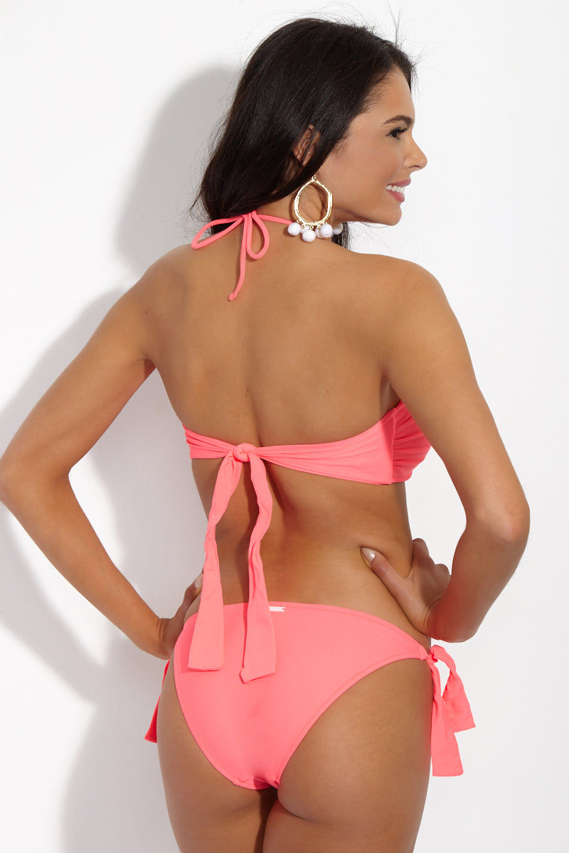 YSHEY Alice Strawberry Jelly Bottom Bikini Bottom | Pink Firecracker| YSHEY Alice Strawberry Jelly Bottom - Back view Cheeky solid pink low-rise bikini bottom with side ties