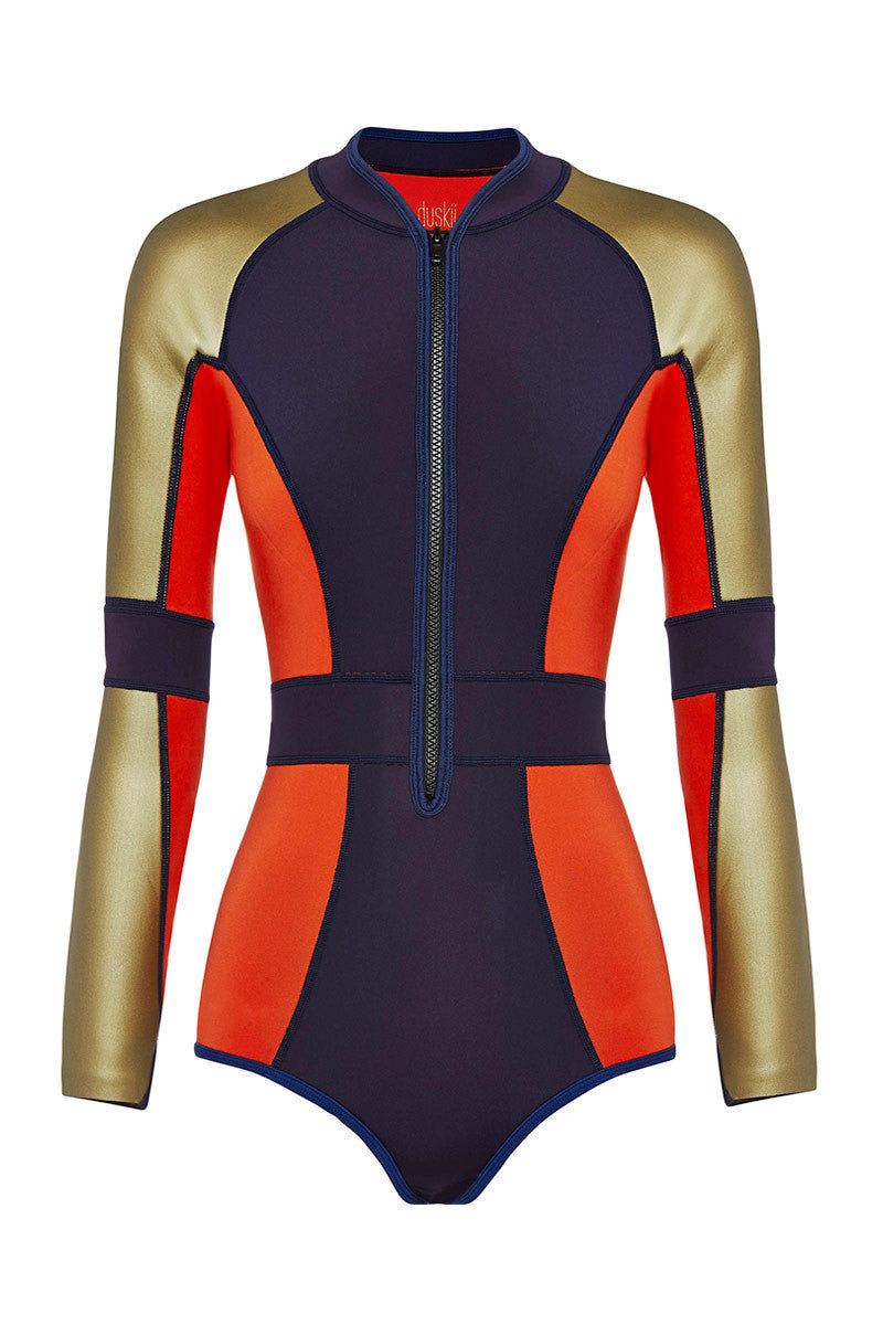 DUSKII Liquidity Longsleeve Suit Wetsuit | Indigo/Tangelo Red/Gold|