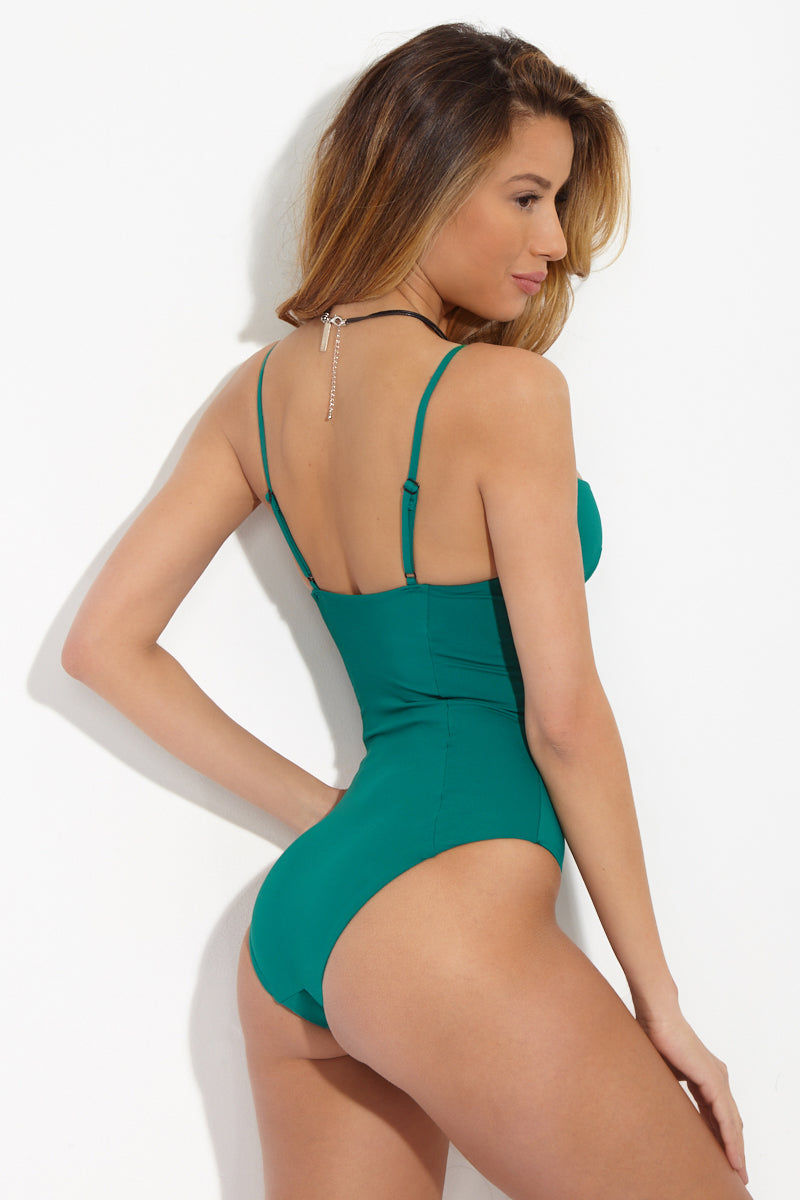 ONIA Isabella Underwire One Piece Swimsuit - Solid Emerald One Piece | Solid Emerald| Onia Isabella Underwire One Piece Swimsuit - Solid Emerald. Features: Corset-like molding at bust accentuates your figure. Underwire and cup padding adjustable straps subtly lift and support your breasts. View: On model, back view.