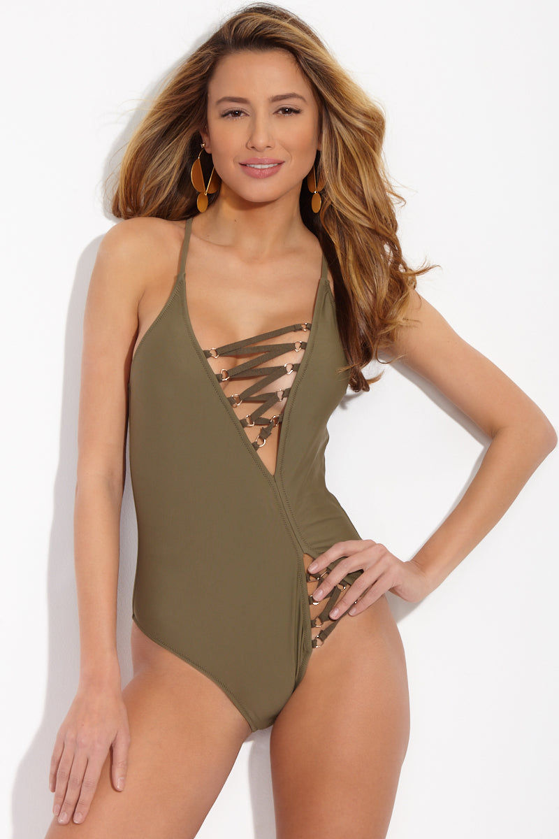 d7a5ab3cdb1 GAEL LONDON Malorie Lace Up Open Back One Piece Swimsuit - Olive One Piece  | Olive ...